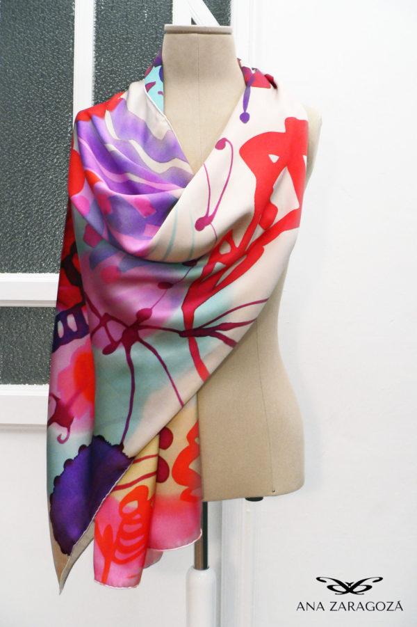 Obra de arte estampada en seda. Echarpe exclusivo en seda